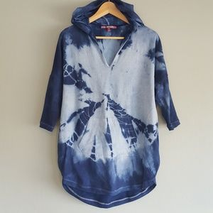 Hooded Tunic Lenth Swim Cover Up Hand Dyed Custom